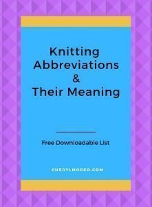 Knitting Abbreviations Chart