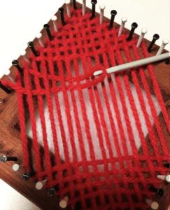 Weaving on square loom