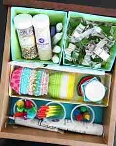drawer of baking supplies